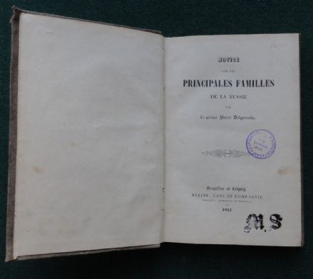Prince Peter Dolgorouky Antique Hand Book of the Principle Families Russia 1843